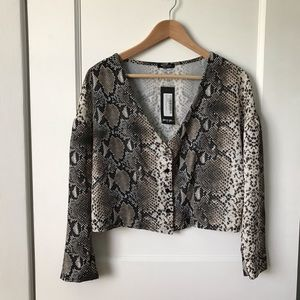 NWT Nasty Gal Collection Snake Print Crop Blouse